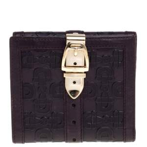 Gucci Dark Purple Leather Compact Wallet