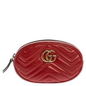 حقيبة غوتشي حزام مارمونت جي جي جلد مبطنة حمراء