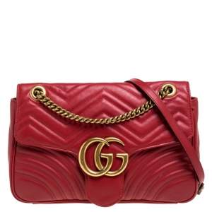 Gucci Red Matelassé Leather Medium GG Marmont Shoulder Bag