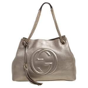 Gucci Metallic Beige Pebbled Leather Medium Soho Tote