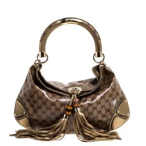Gucci Beige/Gold GG Crystal Canvas and Leather Medium Babouska Indy Hobo