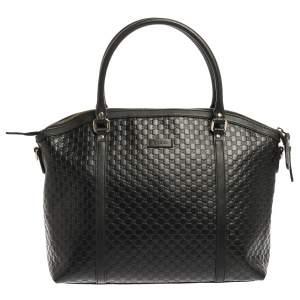 Gucci Black Microguccissima Leather Large Dome Satchel