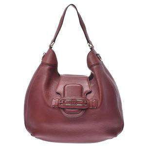 Gucci Brown Pebbled Leather Dressage Hobo Bag