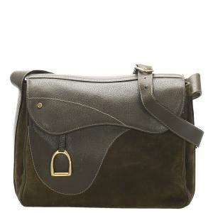 Gucci Green Vintage Flap Saddle Bag