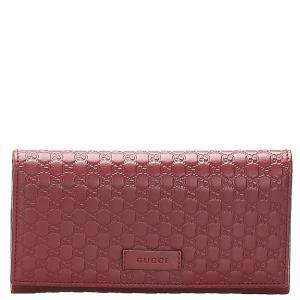 Gucci Red Microguccissima  Leather   Wallets