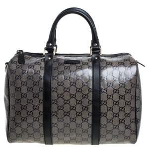 Gucci Black GG Crystal Canvas Medium Joy Boston Bag