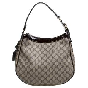 Gucci Brown GG Supreme Canvas and Patent Leather Hobo