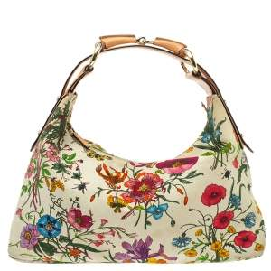 Gucci Multicolor Floral Print Canvas and Leather Horsebit Hobo