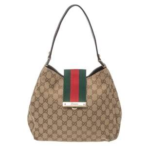 Gucci Beige/Brown GG Canvas and Leather New Ladies Web Hobo