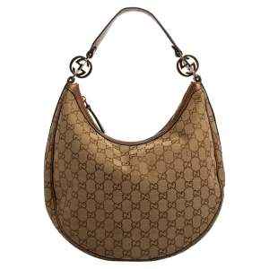 Gucci Beige/Bronze GG Canvas and Leather GG Twins Medium Hobo