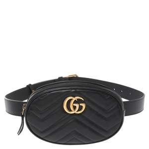 Gucci Black Matelassé Leather GG Marmont Belt Bag