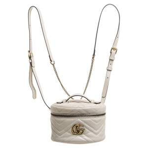 Gucci Cream Leather GG Marmont Vanity Case Backpack