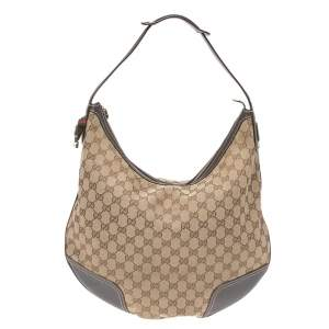 Gucci Beige/Brown GG Canvas and Leather Large Princy Hobo