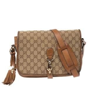 Gucci Beige/Brown GG Canvas and Leather Medium Marrakech Tassel Messenger Bag