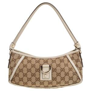 Gucci Beige GG Canvas and Leather D Ring Pochette Bag
