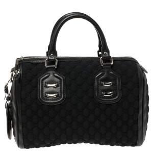 Gucci Black GG Neoprene and Leather Medium Techno Tag Boston Bag