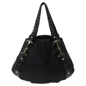 Gucci Black GG Canvas and Leather Medium Horsebit Pelham Shoulder Bag