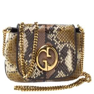 Gucci Multicolor Python and Leather Small 1973 Chain Crossbody Bag