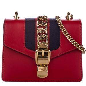 Gucci Red Leather Sylvie Chain Mini Bag