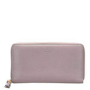 Gucci Pink Leather Bamboo Zip Around Wallet