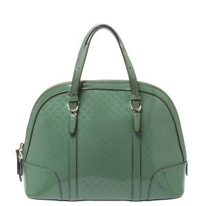 Gucci Green Microguccissima Patent Leather Nice Satchel
