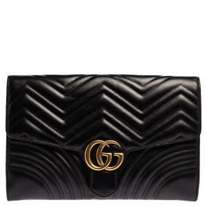 Gucci Black Chevron Leather GG Marmont Clutch