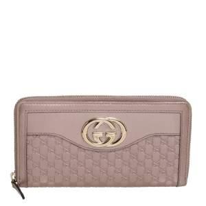 Gucci Metallic Pink Guccissima Leather Interlocking G Zip Around Wallet