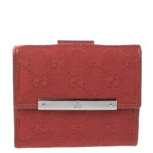 Gucci Red GG Canvas French Flap Wallet
