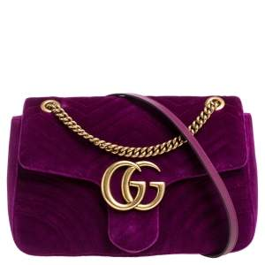 Gucci Purple Matelasse Velvet Medium GG Marmont Shoulder Bag