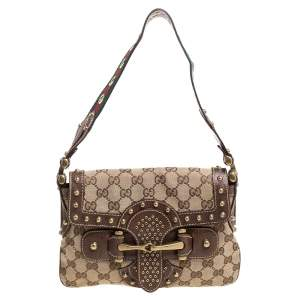 Gucci Brown/Beige GG Canvas Studded Pelham Runway Flap Bag
