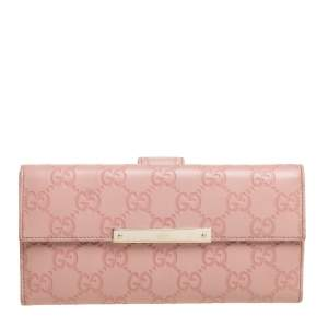 Gucci Light Pink Guccissima Leather Metal Plate Flap Continental Wallet