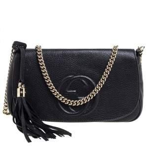 Gucci Black Leather Soho Chain Flap Crossbody Bag