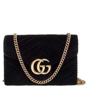 Gucci Black Chevron Velvet GG Marmont Wallet on Chain