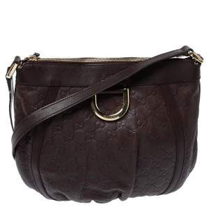 Gucci Dark Brown Guccissima Leather D Ring Shoulder Bag
