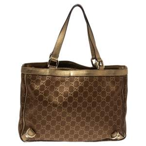 Gucci Metallic Bronze GG Canvas and Leather Medium Abbey Tote