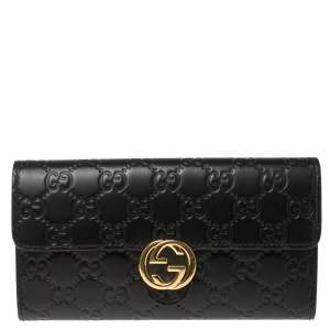 Gucci Black Guccissima Leather GG Icon Continental Wallet