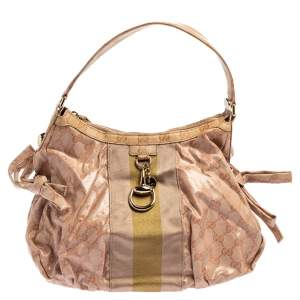 Gucci Blush Pink GG Crystal Canvas Web Stripe Hobo