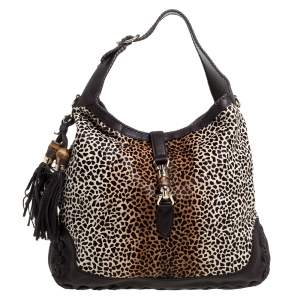 Gucci Brown  Animal Print Calf Hair and Leather Large New Jackie Hobo