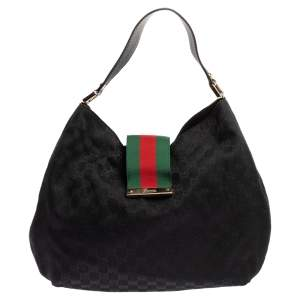 Gucci Black GG Canvas Large New Ladies Web Hobo