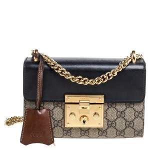 Gucci Tri Color GG Supreme and Leather Small Padlock Shoulder Bag