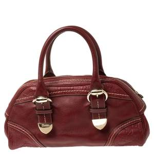 Gucci Red Leather Bowler Bag