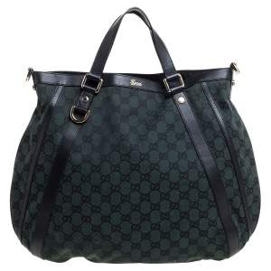 Gucci Deep Green/Black GG Canvas and Leather Abbey Convertible Hobo