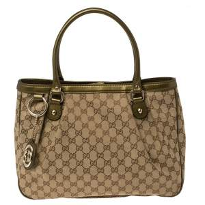 Gucci Beige/Green GG Canvas and Leather Sukey Tote
