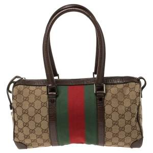 Gucci Dark Brown/Beige GG Canvas and Leather Web Boston Bag