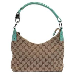 Gucci Beige/Turquoise GG Canvas  and Leather Classic Ring Hobo