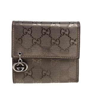 Gucci Metallic GG Imprime Canvas Trifold Wallet