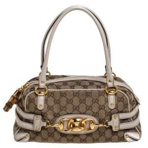 Gucci Beige/Cream GG Canvas and Leather Wave Boston Bag