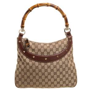 Gucci Beige/Ebony GG Canvas and Leather Studded Bamboo Handle Bag