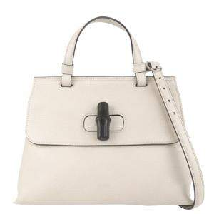 Gucci White Pebbled Leather Bamboo Daily Bag