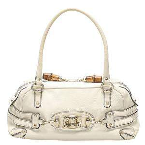 Gucci White Leather Wave Boston Bag